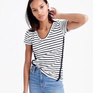 J. Crew striped v neck t shirt with pom Poms